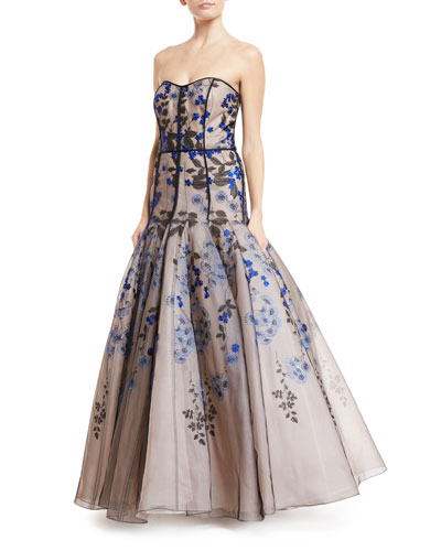 Strapless Floral-Embroidered Tulle Gown