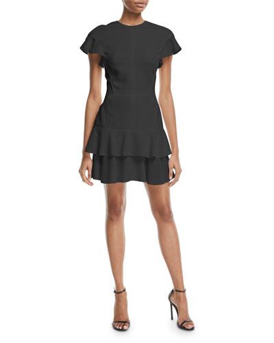 Flutter-Sleeve Ruffled Skirt Dress