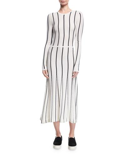 Striped Long-Sleeve Midi Dress