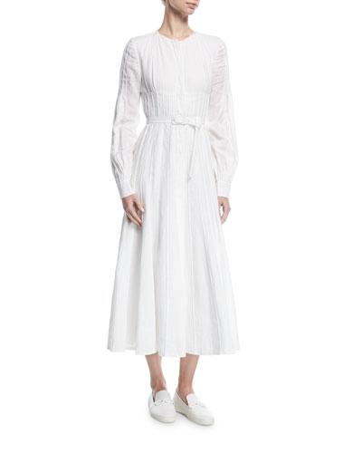 Seamed Collarless Midi Shirtdress