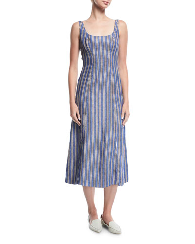 Striped Sleeveless Tie-Back Linen Dress