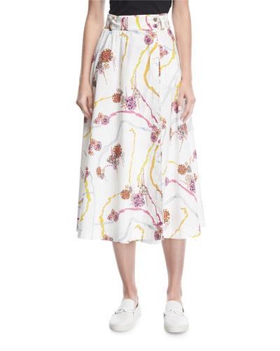 Floral-Print A-Line Skirt