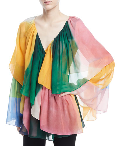V-Neck Tie-Dye Wrap Top