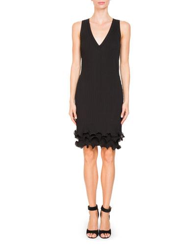 Sleeveless V-Neck Ruffle-Hem Dress