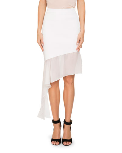 Asymmetric Chiffon-Trim Skirt