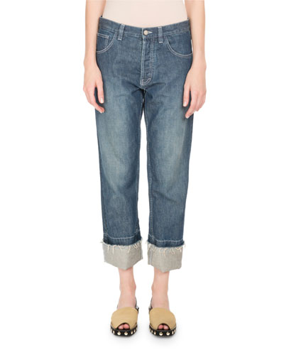 Cuffed Denim Jeans with Embroidered Pocket
