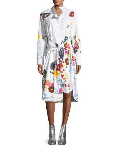 Fruit-Print Cotton Shirtdress