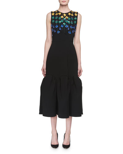 Raven Dragonfly-Beaded Puff-Hem Midi Dress