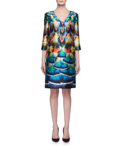 Shea 3/4-Sleeve Feather-Print Silk Dress