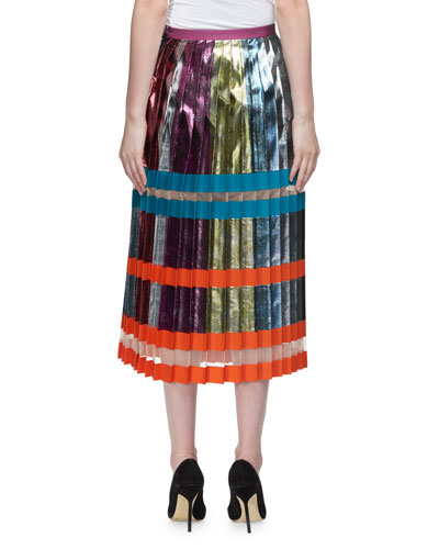 Nighthawk Pleated Metallic Colorblock Midi Skirt