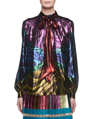 Psychedelic-Print Tie-Neck Blouse