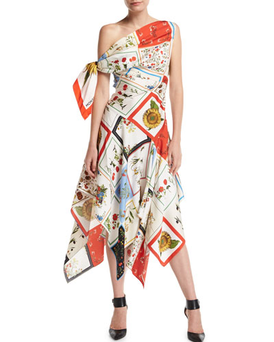 One-Shoulder Floral Patchwork Scarf Midi Dress