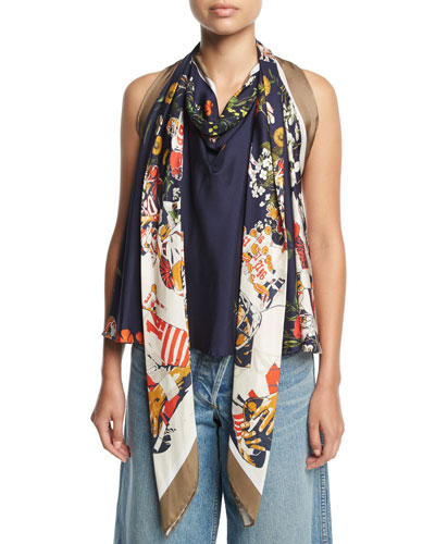 Floral Football Scarf Top