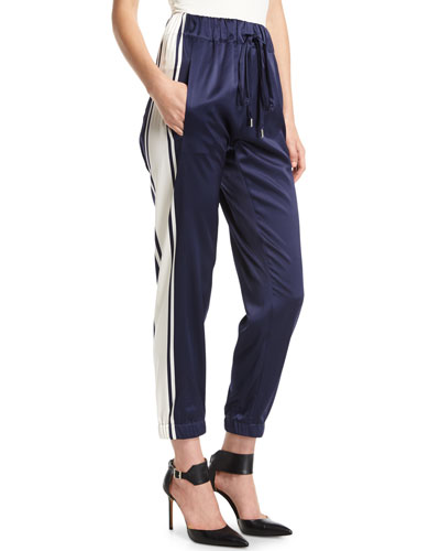 Striped Charmeuse Jogger Pants