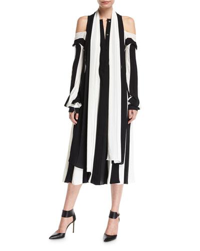 Striped Cold-Shoulder Midi Dress
