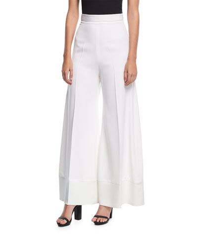 Wide-Leg Flared Wool Pants