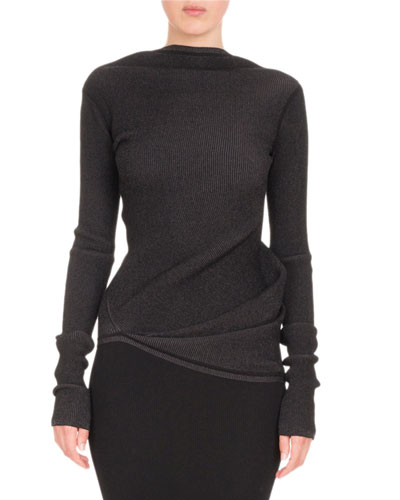 Long-Sleeve Boat-Neck Knit Top