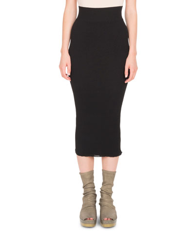 Stretch-Knit Tight Midi Skirt
