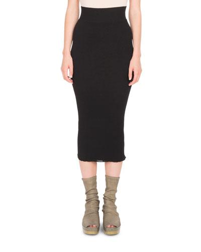 Stretch-Knit Tight Midi Skirt