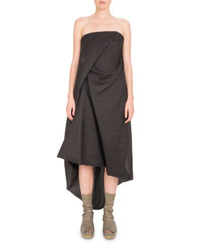 Strapless Draped Midi Dress