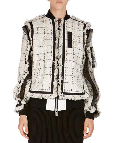 Frayed Tweed Bomber Jacket