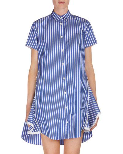 Short-Sleeve Striped Poplin Shirtdress