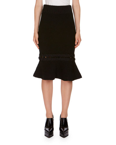 Flared Braid-Knit Skirt