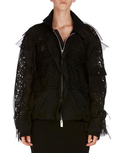 Chiffon Lace Bomber Jacket