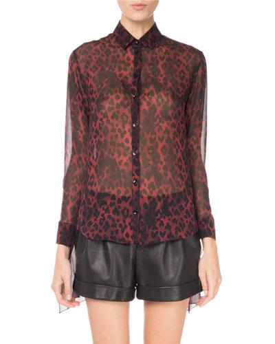 Leopard-Print Silk Tie-Sleeve Blouse