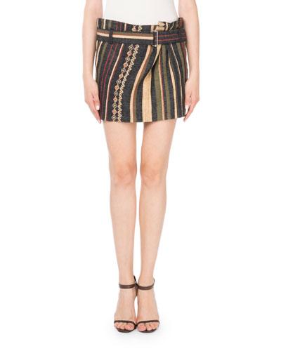 Ikat Striped Mini Skirt