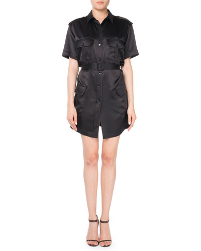 Short-Sleeve Silk Cargo Dress