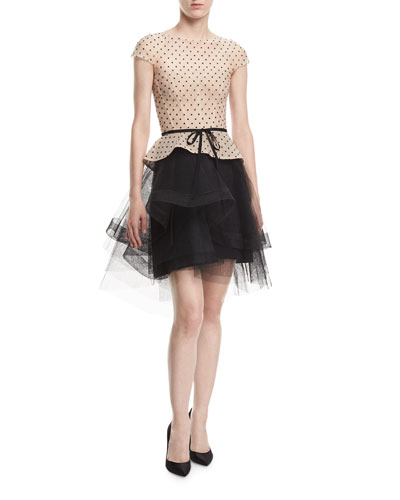 Cap-Sleeve Tulle Dot Cocktail Dress