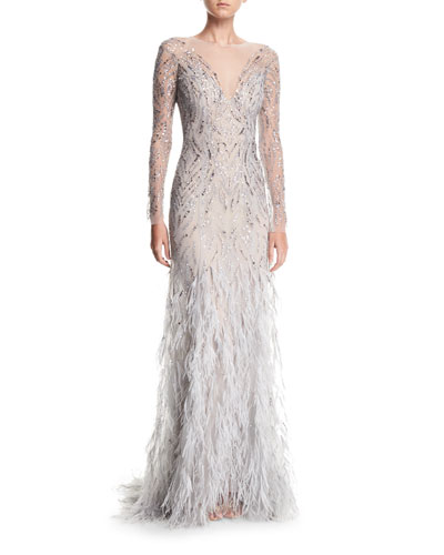 Embellished Long-Sleeve Illusion Evening Gown w/ Feather Skirt