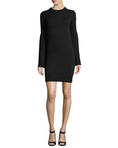 Bell-Sleeve Crewneck Cashmere-Blend Mini Dress