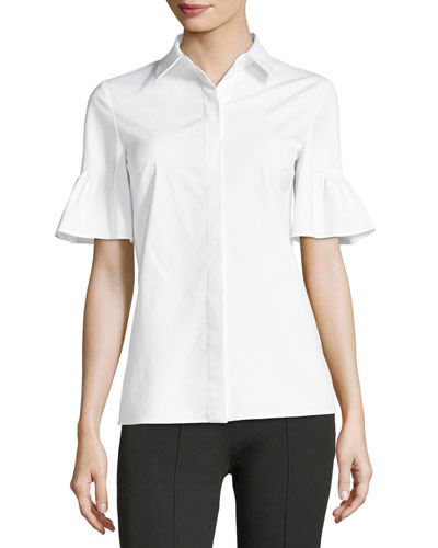 Short Bell-Sleeve Button-Front Stretch Poplin Shirt