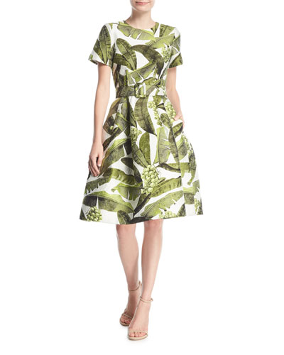 Palm-Print Short-Sleeve Dress