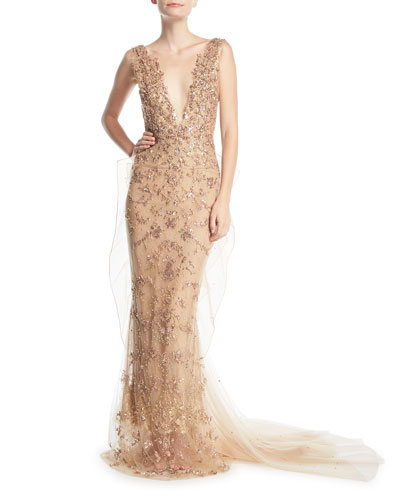 Beaded Chantilly Lace Plunging Gown