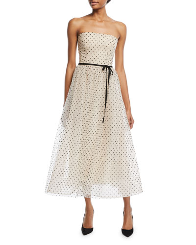 Strapless Swiss Dot Midi Gown