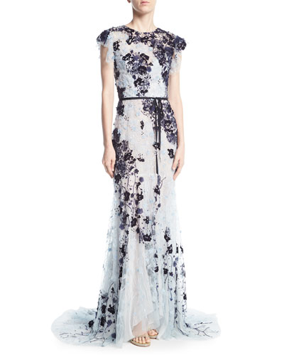 Beaded Cap-Sleeve Chiffon Gown