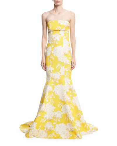 Strapless Hydrangea-Print Trumpet Gown