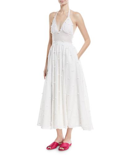Rosette Voile Halter Midi Dress