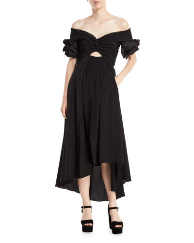 Maria Felix Off-Shoulder Midi Dress