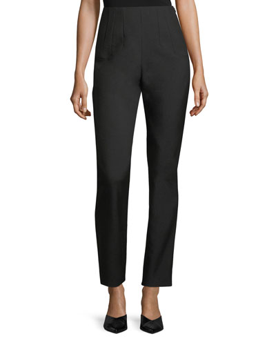Skinny Side-Zip Wool Pants