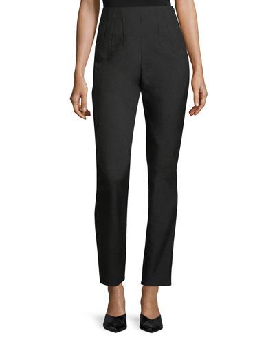Skinny Side-Zip Wool Pants
