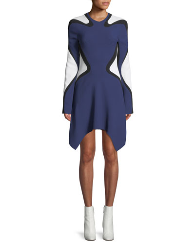 Long-Sleeve Graphic Crepe Dress