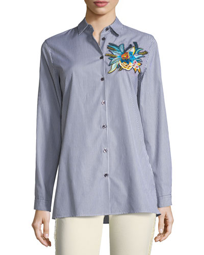 Floral-Embroidered Striped Shirt
