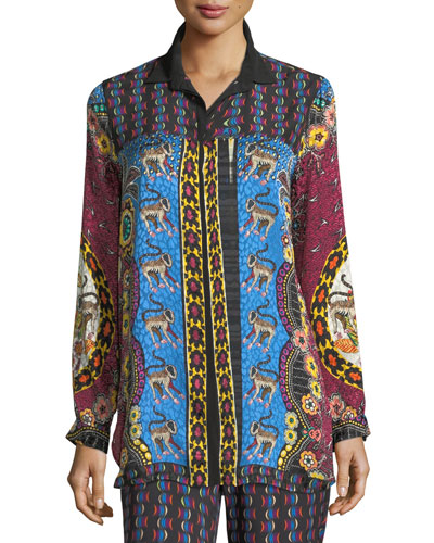 Animal Jacquard Button-Front Silk Blouse
