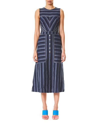 Sleeveless Mix-Stripe Midi Dress