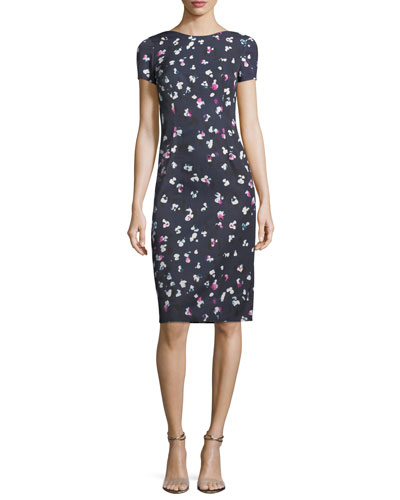 High-Neck Cap-Sleeve Sheath Printed Dress