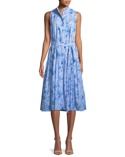Button-Front Sleeveless Floral-Print Poplin Midi Dress